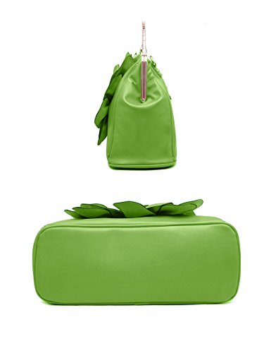 Wedding Flower Floral Satchel Light Women's for 3D Party Handbags Green Bags Crossbodybag Clutch Leather Yellow Evening Purse with Tote W6pRqpIn
