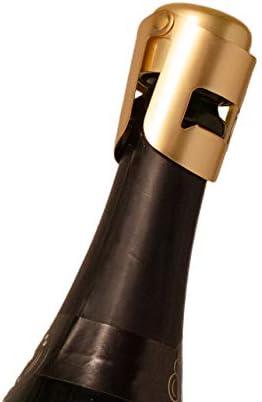 AMICA Gold Champagne Stopper, Diseñado en Francia, Sellador de botellas para cava, Prosecco, Vino espumoso, Chapado en oro, Sin borde afilado, Diseño simple, Sin fugas, Sin derrames, Fizz Saver