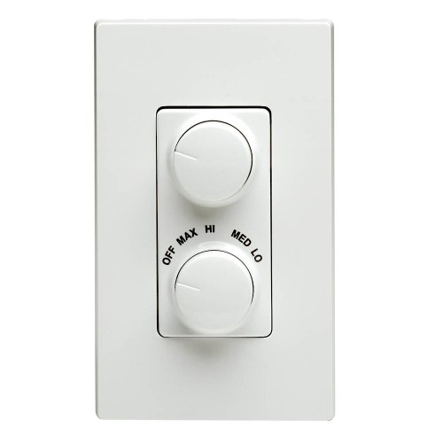 Leviton RTD01-10W IllumaTech 1.5A 300W Rotary Combo Fan Speed Dimmer Control, Single-Pole, White Fan Dimmer Switches