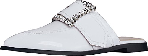 Calaier Femme Cacare Pointu 1.5cm Slip-on Mule Chaussures Blanches