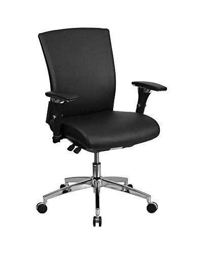 Offex Multi-Functional Leather Executive Swivel Chair with Seat Slider – Black