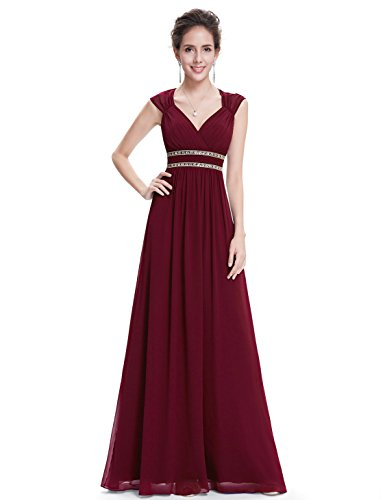 Ever-Pretty Womens Long Sleeveless V-Neck Military Ball Dress 8 US Burgandy