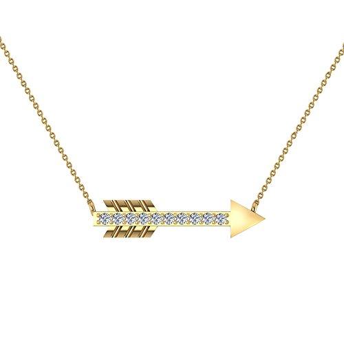 Glitz Design 0.11 ct Arrow Diamond Necklace 14K Yellow Gold with 20