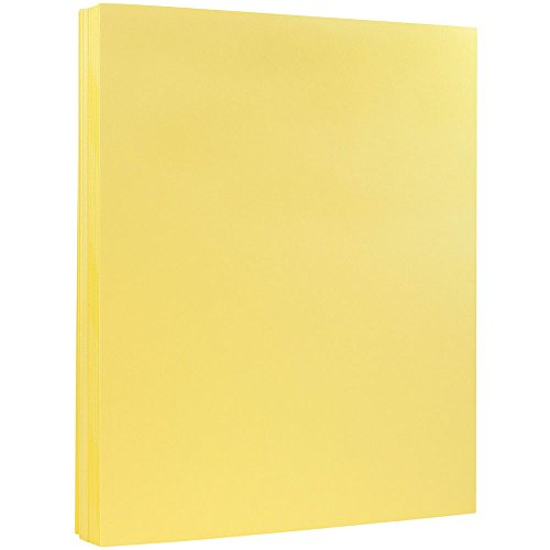 (JAM PAPER Vellum Bristol 67lb Cardstock - 8.5 x 11 Coverstock - Canary Yellow - 50 Sheets/Pack)