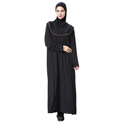 (HYIRI Muslim Maxi Dress Women's Trumpet Sleeve Abaya Gowns Tunic Belt Prayer Service Clothing Coffee)