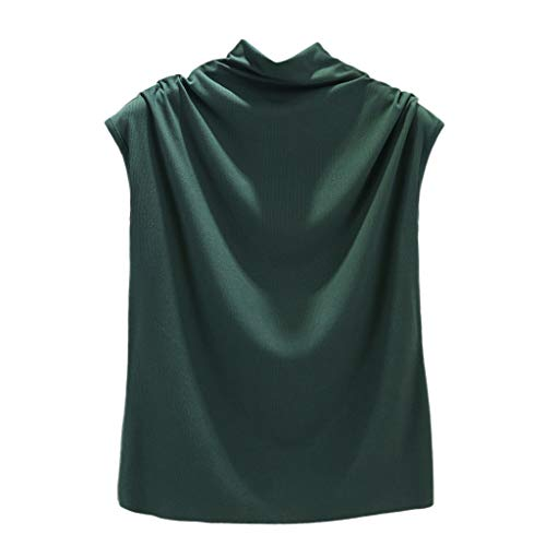 NUWFOR Women Turtleneck Sleeveless Cotton Solid Casual Loose Tunic Top Tee Shirt Tank(Green,US L Bust:33.4-39.3