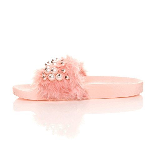 infradito slides pelliccia pantofole piatto comodo ciabatta Donna Perla Con numero sandali Rosa gt4q5