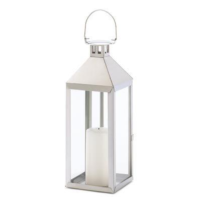 Gifts & Decor Silver Hurricane Hanging Candle Holder Lantern (Outdoor Hurricane Lantern)