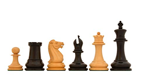 Reproduced 1849 Original Staunton Pattern Chess Set in Ebony / Boxwood with King Side Stamping - 3.75