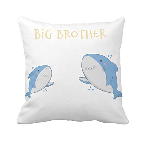 Kissenday 18X18 Inch Big Brother Lovely Baby Announcement Quote Cute Shark Saying Cotton Polyester Decorative Home Decor Sofa Couch Desk Chair Bed Birthday Nursery Gift Square Soft Throw Pillow Case