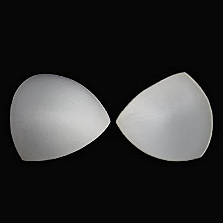 Black White Soft Sponge Triangle Foam Bra Cup Pads Push Up Padding for Women Bikini Insert Sewing Accessories 2pair/ WB82 (white) Resources House