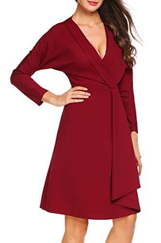Finejo Women's Long Sleeve Tunic Dress V Neck Loose Swing Shift Dresses Wine Red XL