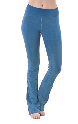 - JKC Mineral Acid Wash Thick Yoga Pants Flare Heavyweigh Foldover Band CJ7477 Blue