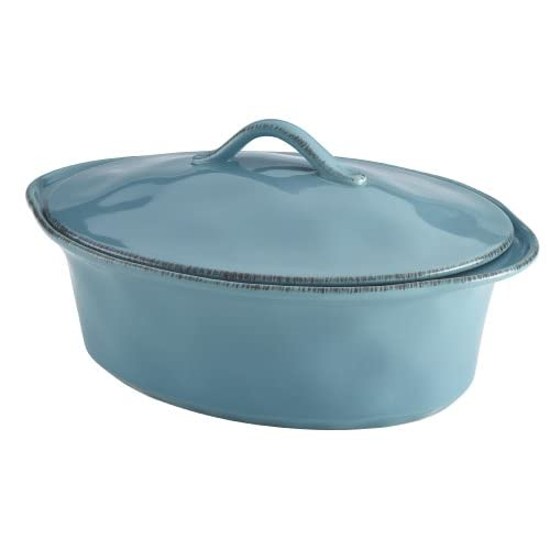 Rachael Ray Cucina Stoneware 3-1/2-Quart Oval Casserole, Agave Blue