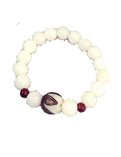 Natural White Bodhi Seed Beads Seed Carved Lotus Flower Unique Quartz Crystal Wrap Opal Bracelet (white (Lotus)1) -
