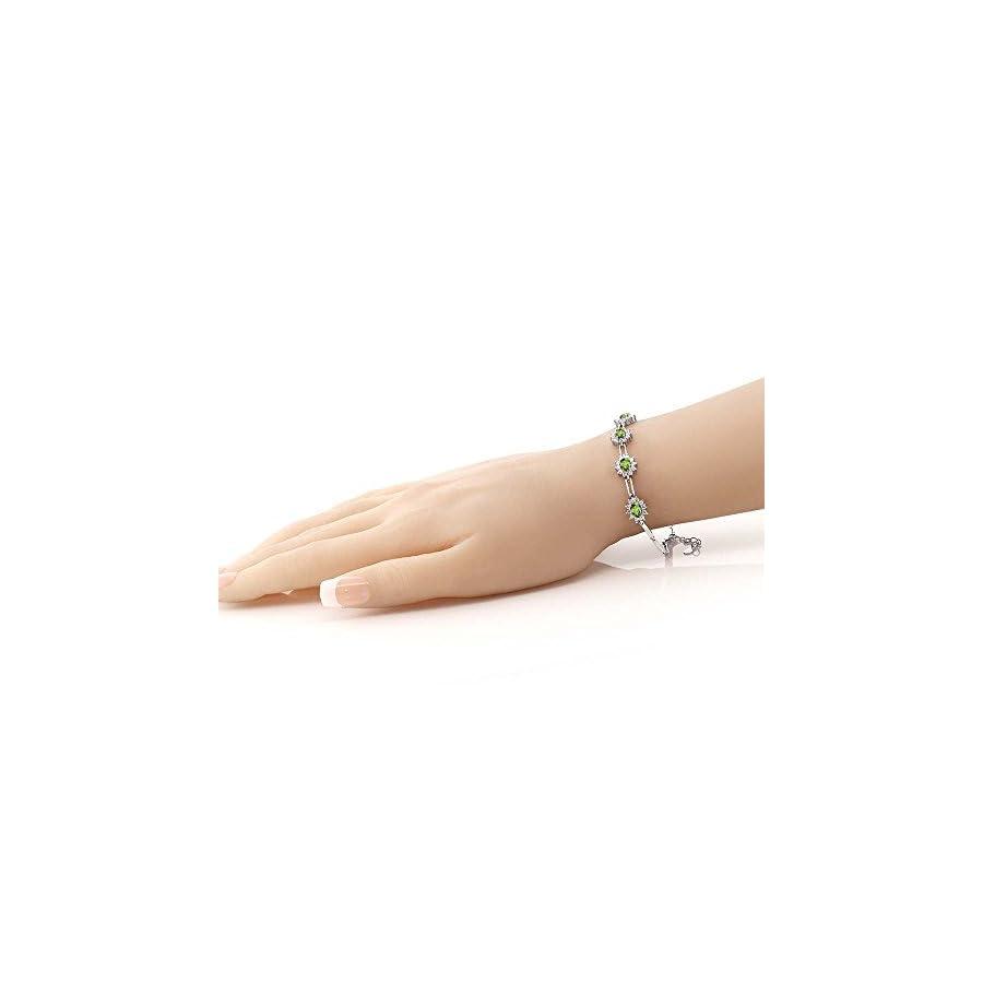 925 Sterling Silver Peridot Women's Tennis Bracelet 4.00 Carat Oval Shape Gemstone Birthstone 7 Inch with 1 Inch Extender