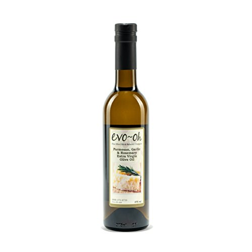EVO-Oh Parmesan Garlic Rosemary Flavored Organic Olive Oil - Certified Extra Virgin Olive Oil - 100% Natural Handcrafted Oil 375 ml (12.6 Fl Ounce) - Bottled in the USA