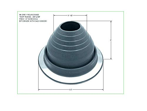 (EAGLE 1 EPDM Flexible Roofing Pipe Flashing Boots - On Site Adjustable Roof Pipe Jack Boot with Round Base (Standard Gray, 4))