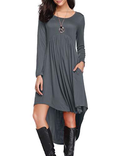 Asymmetrical Empire Waist Tunic - LARACE Women's Casual Long Sleeve Pockets Loose Pleated High Low Swing Dress - Deep Gray, 1X