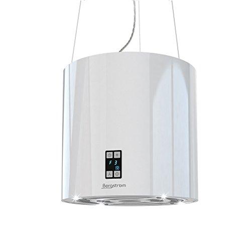 Bergstroem Design Inselhaube Dunstabzugshaube freihängend Deckenhaube hochglänzend Weiß