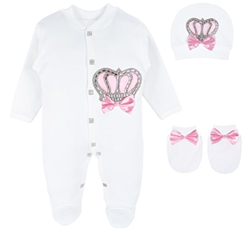 Mitten Set 3 Piece (Lilax Baby Girl Newborn Crown Jewels Layette 3 Piece Gift Set 0-3 Months Pink)
