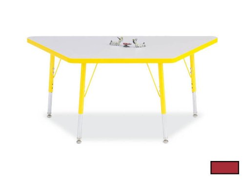 "Kydz Activity Table - Trapezoid Gray/red/24"" X 48"" 15"" - 24"""