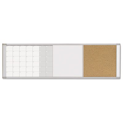 Magnetic Calendar Combo Board, 48 x 18, Aluminum Frame, Sold as 1 Each by MasterVision