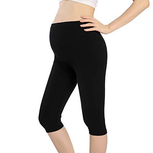 Black Maternity Capris - QingWan Short Leggings for Pregnancy Women Workout Capri Maternity Shorts Over The Belly Black