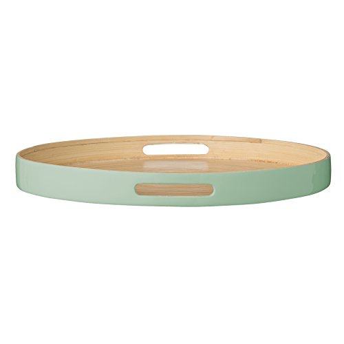 Bloomingville Round Bamboo Olivia Tray with Mint Edge, Multicolor by Bloomingville