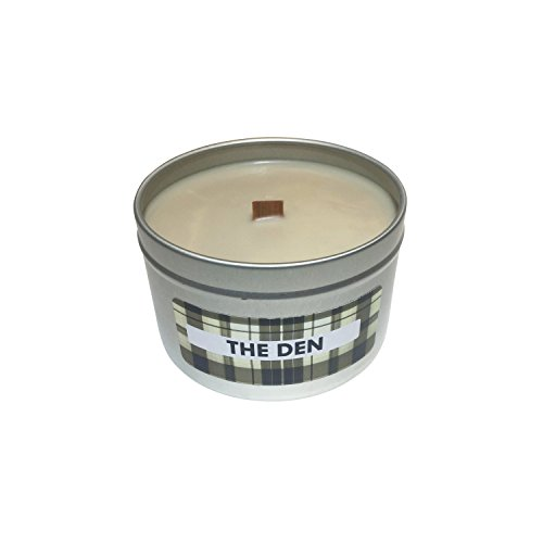 Scented Candle | Whiskey and Cigar Scent (The Den) | Wooden Wick in 8oz Tin - Plaid Stallion