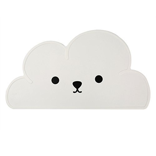 SZKTMOK Pet Feeding Mat Silicone Cute Cloud Pattern with Smile Placemat Pads Supplies for Small Cats Dogs Bunny ()
