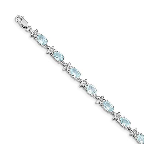 Jewels By Lux 14k White Gold Floral Diamond Aquamarine ()