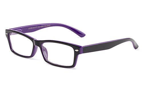 Newbee Fashion - Simple Sleek Squared Fashion Eye Glasses Clear Lens Frames for Women and Men Cosplay Accessories 1972 Purple