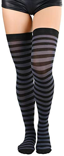 ToBeInStyle Women's Horizontal Striped Thigh Highs - Black/Grey - OS