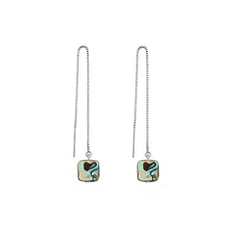 MANZHEN Geometric Rectangle Natural Abalone Shell Dangle Drop Threader Earrings for Women (silver)