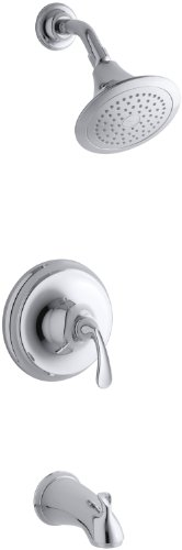(KOHLER K-T10274-4-CP Forte Rite-Temp Pressure-Balancing Bath and Shower Faucet Trim, Polished Chrome)