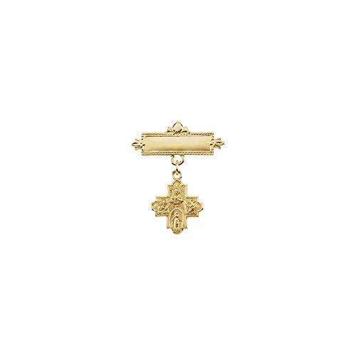 14k Yellow Gold 4-Way Cross Baptismal Pin 12mm