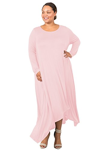 Love In D6190C-PX Long Sleeve Round Neck Flared Maxi Dress W/Pocket Blush 3X by Love In (Image #2)