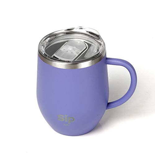 PURPLE Double Walled 18/8 StainlessSteel Insulated Cup, Handle & Lid 12oz- Keeps Drinks Hot or Cold for up to 8 hours - Coffee, Tea, Beer, Water, Wine - Sip Eazy - FREE Silicone Straw & Cleaning Brush