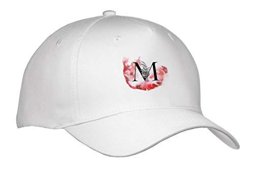 3dRose Uta Naumann Personal Monogram Initials - Letter M Personal Floral Vintage Floral Monogram-Personalized Initial - Caps - Adult Baseball Cap (Cap_292124_1) -