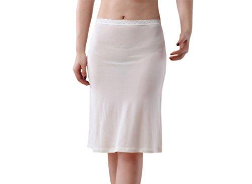 Funme Ultra Thin 100% Silk Half Slip Dress Pettipants White XL - Hip Slip