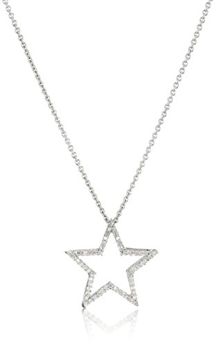 Jewelili Sterling Silver Diamond Star Pendant Necklace (1/5 cttw), ()
