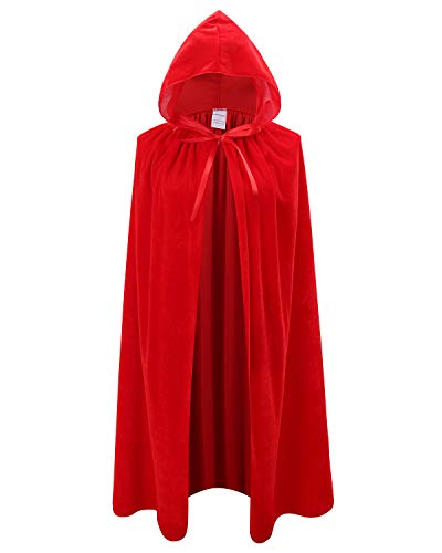 Kids Velvet Cape Cloak with Hood Unisex-Child Cosplay Halloween Christmas Costume (100cm/39.4inch, Red) -