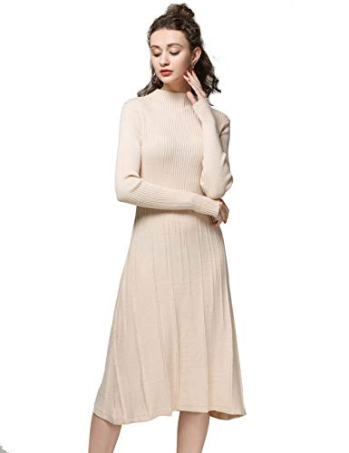 - FINCATI Off White Dress Women Cashmere Sweater Soft Elegant Vertical Striped Knee-Length Pulls Jersey (L, C-Beige)