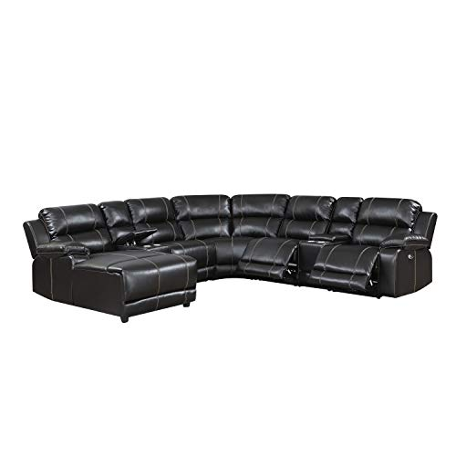(Christies Home Living William Collection 7 Piece Transitional Faux Leather Upholstered Power Curved Living Room Chaise, Reclining Sectional, Brown)