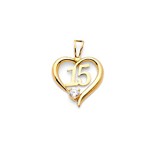 (Million Charms 14k Yellow Gold High Polished Heart Charm with Number 15 Center Pendant, Accented with White CZ Stone (15mm x 15mm) )