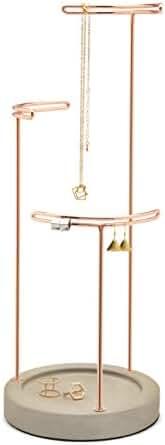 Umbra Tesora Jewelry Stand, Concrete/Copper