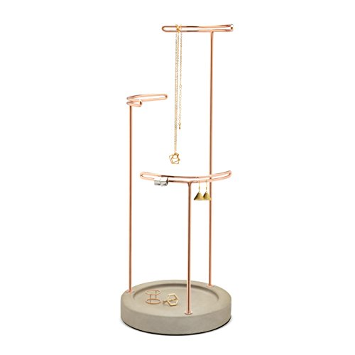 Umbra Tesora – Jewelry Organizer/Copper Jewelry Stand with Concrete ()