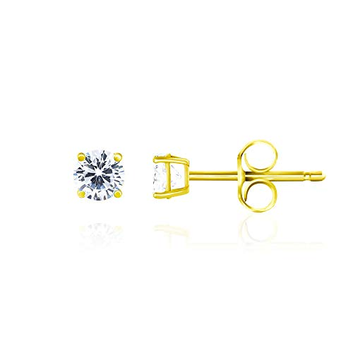 14k Yellow Gold Plated 925 Sterling Silver Cubic Zirconia Classic Basket Prong Set Eternity Stud Earrings, 3mm -
