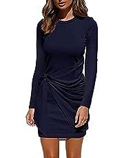 sumtaplor Women's Autumn T Shirt Dress Casual Long Sleeve Crewneck Bodycon Ruched Tie Waist Mini Dresses